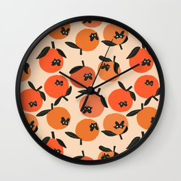 Oranges and Pugs Wall Clock