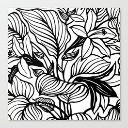 White Black Floral Minimalist Canvas Print