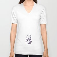 bunny V-neck T-shirts featuring Moon Bunny by Freeminds