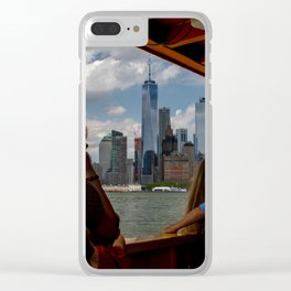 Freedom Tower & Tourists Clear iPhone Case