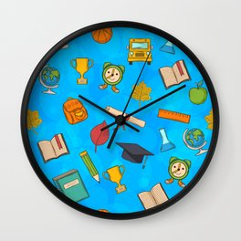 Back to school on blue background Wall Clock