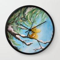 woodstock Wall Clocks featuring Winter Woodstock by artmonkeyworld