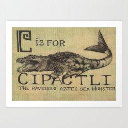 Alphabestiary C - Cipactli Art Print