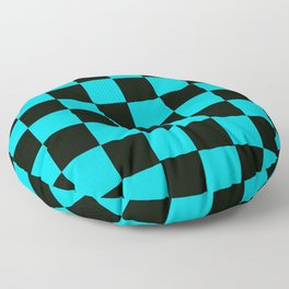 Turquoise & Black Chex 2 Floor Pillow