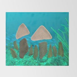 Sea Glass Mushrooms #mushrooms #seaglass #ocean Throw Blanket