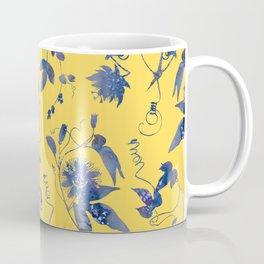 Elegant Blue Passion Flower on Mustard Yellow Coffee Mug