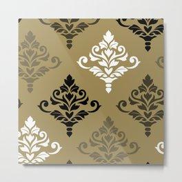 Cresta Damask Art I Black White Bronzes Gold Metal Print