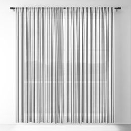 Small Black and White Piano Stripes Sheer Curtain