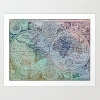 Map of the Colorful World Art Print