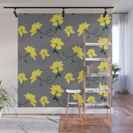 Yellow Flowers on Gray/Grey background, floral pattern Wall Mural