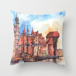 Gdansk watercolor illustration Throw Pillow