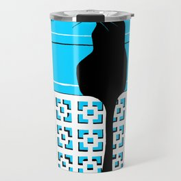 black cat on blue Travel Mug