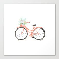 Coral Spring bicycle with flowers Canvas Print