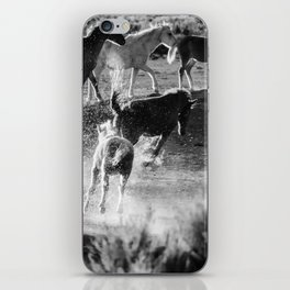 Hijinks at the Waterhole bw iPhone Skin
