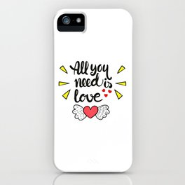 Love Quote Design, Colorful Hearts, Rainbows and Flowers (22) iPhone Case