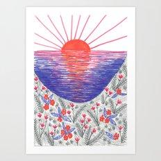 Cliff Top Sunset Art Print