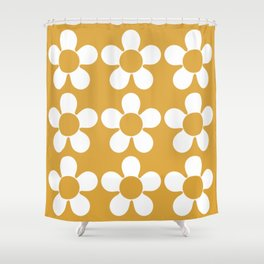 Geometric Golden Yellow & White Summer Daisies Shower Curtain