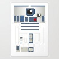 starwars Art Prints featuring StarWars - R2D2 by Sarrah Frie