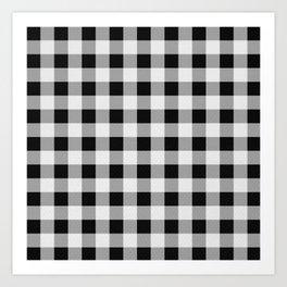 TARTAN GINGHAM CHECKERED GREY / BLACK Art Print