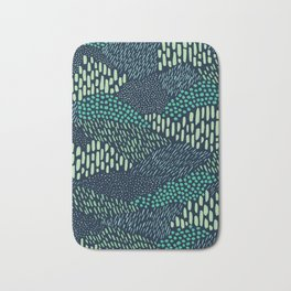 Dashes and dots in blue-green // abstract pattern Bath Mat