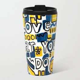 Fun LOVE and colorful art BED COMFORTER or Shower Curtain Travel Mug