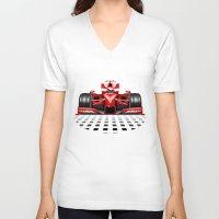 formula 1 V-neck T-shirts featuring Formula 1 Red Race Car by BluedarkArt