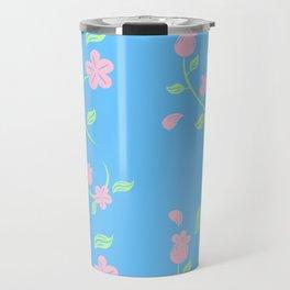 Pink Flower Backgroud Travel Mug