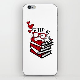 Reading Gift Funny Cat Book Reader Geek Glasses Bookworm iPhone Skin