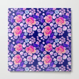 Rosaful rose pattern # Navy Metal Print