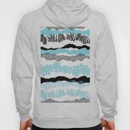 Modern geometric black aqua white brushstrokes Hoody