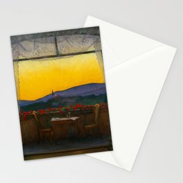 A Clean, Well-lighted Place (Room with a View) landscape painting by Harald Sohlberg Stationery Cards