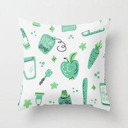 Green oral care Throw Pillow