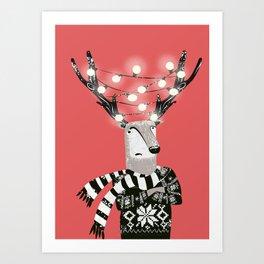 Christmas Bright Reindeer Art Print