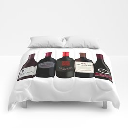 Red Wine Bottles Comforters