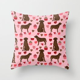 Chocolate Labrador Retriever valentines day cupcakes love hearts dog gifts labs Throw Pillow