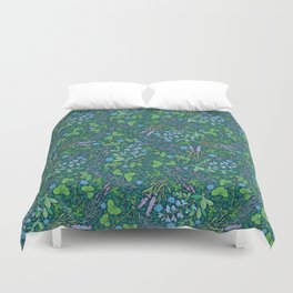 Lavender and lupine with cornflowers on herbal background Duvet Cover