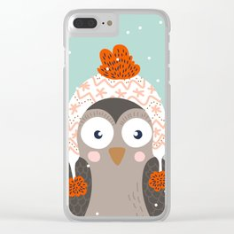 Owl Under Snow in the Christmas Time. Clear iPhone Case