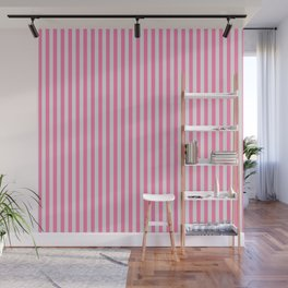 Narrow Vertical Stripes (Pink/Grey): classic stripes in pretty colors for a fresh clean look Wall Mural