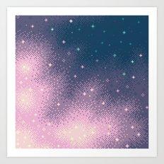 Lilac Nebula (8bit) Art Print