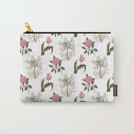 Pink and White Vintage Floral Pattern Carry-All Pouch