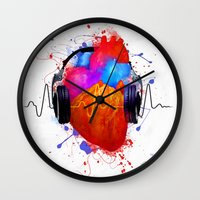 selena Wall Clocks featuring No Music - No Life by Sitchko Igor
