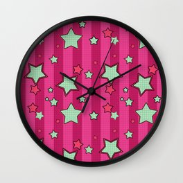 Beige stars on a crimson background Wall Clock
