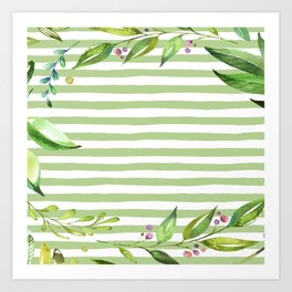 Watercolor Art Bold Green Stripes Floral Spring Design Art Print