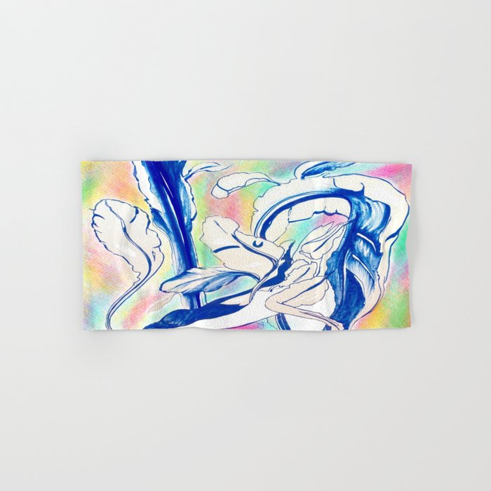 Plant in Blue Marker - Leaf of Life Miracle Leaf - Rainbow Colorful 2 Hand & Bath Towel