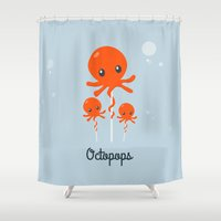 octopus Shower Curtains featuring Octopus by Jane Mathieu