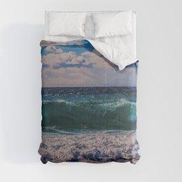 Big Surf at Blue Shutters Beach, Rhode Island Comforters