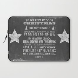 Christmas Chalk Board Typography Text Laptop Sleeve