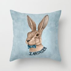 Mr Hare Is Faster Throw Pillow