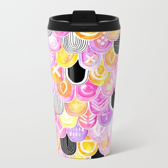 Citrus, Cotton Candy & Licorice Watercolor Scales Metal Travel Mug