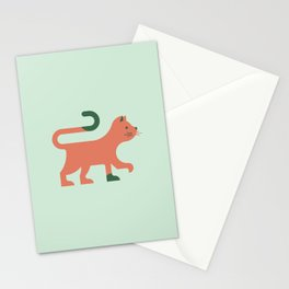 Orange Minimal Cat Stationery Cards